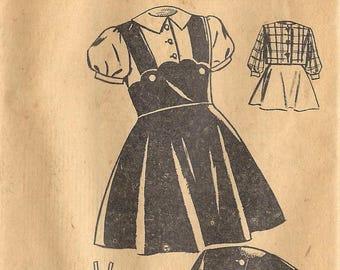1940s Mail Order 3078 Vintage Sewing Pattern Girls Jumper, Blouse Size 4, Size 10