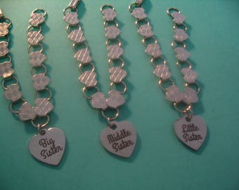 Big Sister Middle Sister Little Sister Heart Bracelets  Jewelry Gift