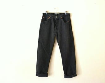 90's Levis 501 Black Jeans Made In U.S.A. 34 x 30
