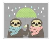 17J Animal Art - Two Sloths Holding Green Umbrella Wall Art - Umbrella Drawing - Birthday Gift for Sloth Lovers - Whimsical Rain Wall Art