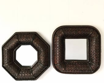 vintage wall mirror - dark brown wicker - boho woven rattan - octagon square