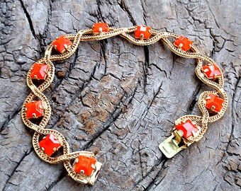 Vintage Bracelet Orange Rhinestones in Gold Chain for FALL AUTUMN Tangerine Coral