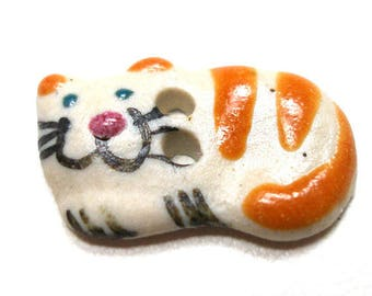 "Mini Ceramic CAT Button, Handmade orange stripe kitty, 2/3"", tabby cat. Smiling,happy cat."