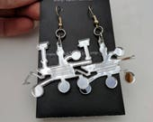 Mars Rover Curiosity Space Science Earrings, Mirror Silver Lasercut Acrylic