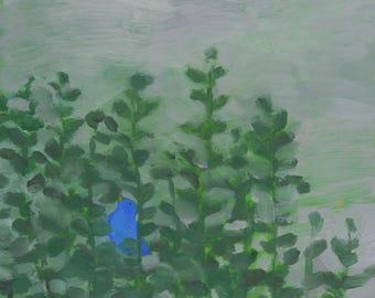 Proud Blue Bird - original fine art, wall decor, bird decor, acrylic painting on panel - Irene Stapleford - wantknot shop