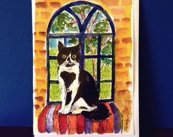 Tuxedo Cat in an Arched Window, Black and White Cat Card, Hand Painted Card, Cat Card, Cat Paintng, Original Watercolor, Cat Art ,Window Art