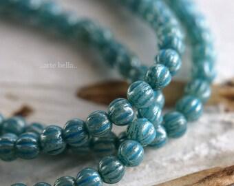 BLUE MINI MELONS .. New 50 Premium Czech Glass Melon Beads 3mm (6218-st)