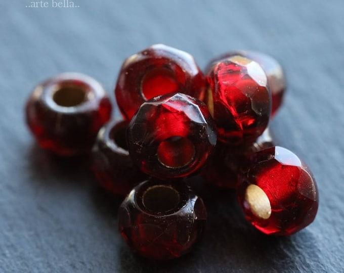 CRANBERRY ROLLERS .. 10 Premium Czech Glass Large Hole Roller Beads 6x9mm (6082-10)