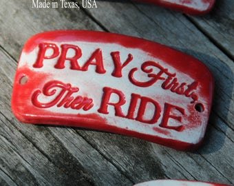 Pottery cuff bead, Pray First in Tamale Red