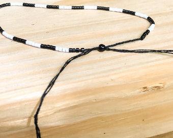 Black and White Minimalist Stack Bracelet