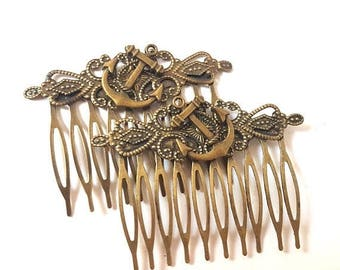 Antique Brass Anchor Hair Combs-Set of Two-Nautical Wedding-Bridesmaid Gifts-Offbeat Bride-Sailor Style-Rockabilly Wedding-Fashion Accessory