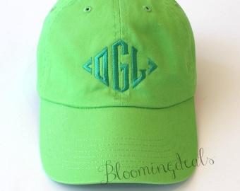 Monogrammed Baseball Cap Unisex Personalized Hat Neon Green