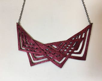 Metallic deep red  Cut out Tribal Geometric Leather Necklace