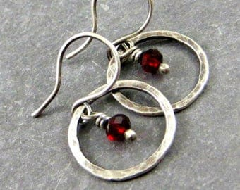 Red Crystal Circle Earrings Sterling Silver Jewelry Gifts for Her Dainty Earrings Red Jewelry