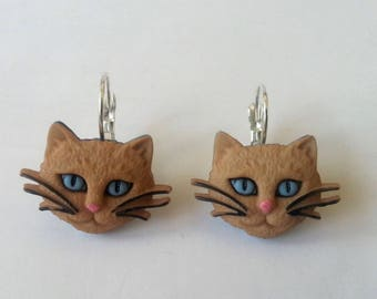 Cat earrings ♥ ♥ ♥ ♥ light red