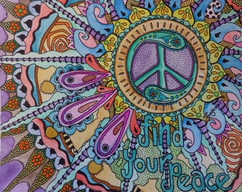 Hippie Art, Peace Art, Singleton hippie art, peace sign, hippie decor, hippie painting, hippie wall art, watercolor peace, peace symbol