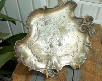 Old Silver Plate Figural Card Tray Nude Cupid Scroll Design Vanity Calling Cards