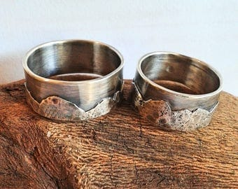 Mountain range sterling silver bands set of 2 - rustic- natural - rugged - organic- unisex