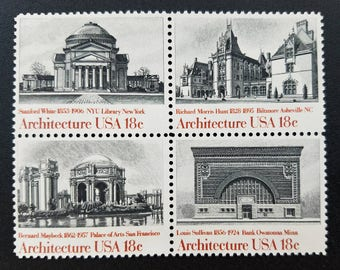 Vintage unused postage stamps - Architecture, 18 cent stamps, a set of eight (8) stamps