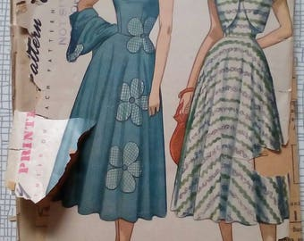 "1950s Sun Dress & Bolero - 34"" Bust - Simplicity 2397 - Vintage Sewing Pattern"