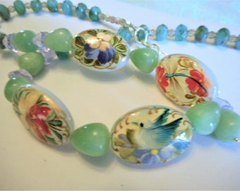 The Painted Garden ... necklace, hand painted opal glass, natural amazonite, Czech Picasso glass ... #778