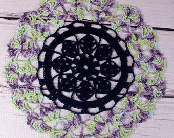 Crocheted Black Green Purple Violet Halloween Table Topper Doily- 10 1/2""