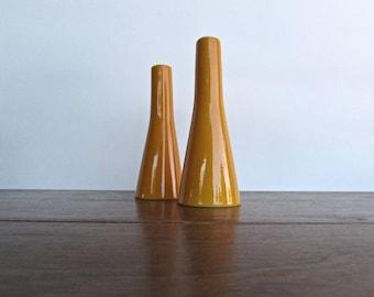 Vintage IronStone Orange Salt & Pepper Pillars, Minimalist Modern Design from Mid Century Japan