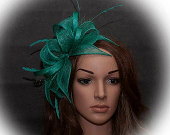 Emerald green stunnig large fascinator for your special occasions