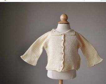 ANNIVERSARY SALE 1950s Cream Knit Cardigan~Size 3 Months
