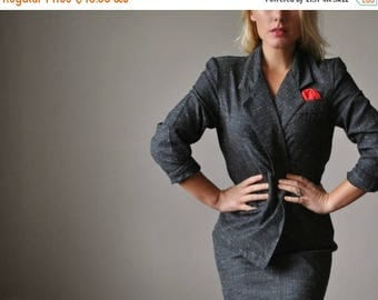 ANNIVERSARY SALE 1980s Charcoal Fleck Suit~Size Small to Medium