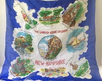 New Hampshire Scarf Souvenir Scarf 1960s Scarf Tourist Scarf Collectible scarf Silk scarf Blue scarf