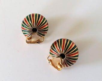 Vintage Gold Tone and enameled Christmas Clip On Earrings