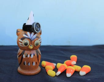 Vintage Style Halloween - Google Eye Wood Owl Figure with Witch Hat, G59