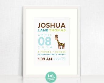 Modern Elephant Birth Print, Adoption Print // Giraffe Print // Nursery Print // Birth Stat Poster // 8x10 wall art
