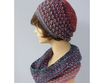 Crochet Winter Hat Cowl Set, Purple Blue Infinity Scarf, Slouchy Beanie, Cotton Vegan, Ready to Ship