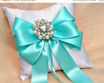 On Sale 20% Off Ring Bearer Pillow - Ring Pillow - Ring Pillow Wedding - Aqua Wedding - Ringbearer Pillow - Pearl Ring Cushion - 30 Ribbon C