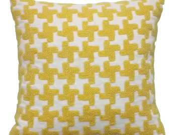 """Ivory Decorative Pillow Cover, Accent Pillowcase, 16""""x16"""" Linen Pillow Cover For Couch, Bead Embroidered Square Pillow Cover - Yellow Belly"""