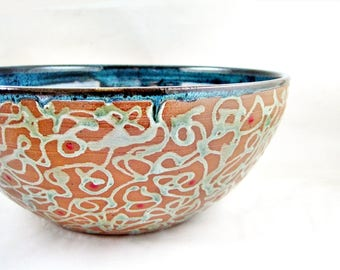 Large handmade serving bowl, Modern ceramic home decor, Blue pottery wedding gift idea, Teal blue and tan bowl - In stock 146 SB
