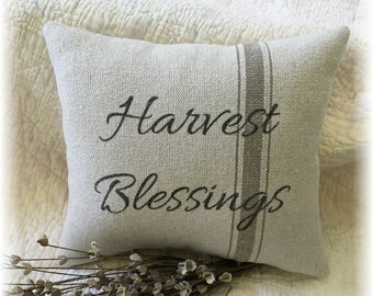 Farmhouse Pillow Reproduction Feed Sack Fabric Home Made
