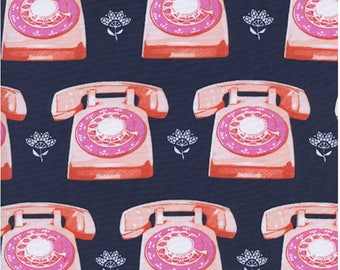 Telephones in Navy, Trinket Collection,  Melody Miller, Cotton and Steel,  1 yard