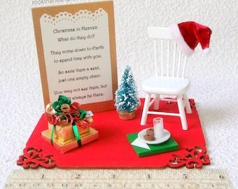 Christmas in Heaven poem, miniature holiday scene, memorial keepsake, table top display, empty chair poem, remembrance