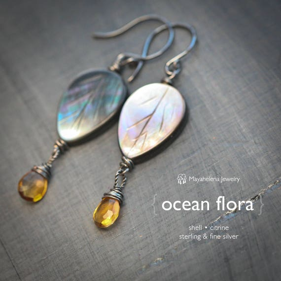 Ocean Flora - Shell and Citrine Dangle Sterling Silver Earrings