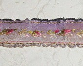 "Gorgeous Embroidered Jacquard Floral French Ribbon in Ombre Lilac and Pinks For Re-use  3 3/4 Yards x 7/8"" Wide"