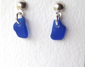 Rare Cobalt Blue Single Drop Stud Earrings on Sterling Silver