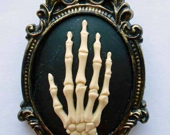 Gothic hand skeleton cameo brooch. Cameo jewelry. Gothic jewellery. Gothic wedding. Gifts for her. Gifts for him. Creepy cute.