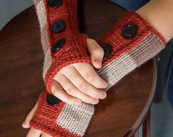 Oatmeal Knit Fingerless Gloves Redwood Arm Warmers Mushroom Winter Accessories Womens Winter Gloves Warm Gloves Texting Gloves