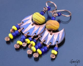Pistache - boucles d'oreille verre et cuivre émaillé - Style Bohême - Emaux - bo gaelys
