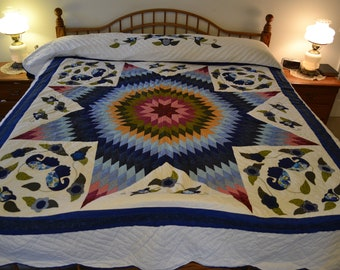 "Amish Improved Lone Star King/Lg Queen quilt, 102"" by 113"""