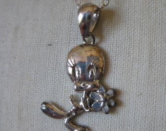 Tweedy Bird Flower Sterling Necklace Vintage Pendant 925 Silver