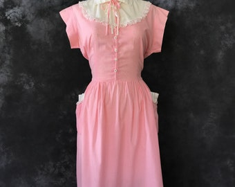 Vintage 1940's pink gingham dress xxl plus volup